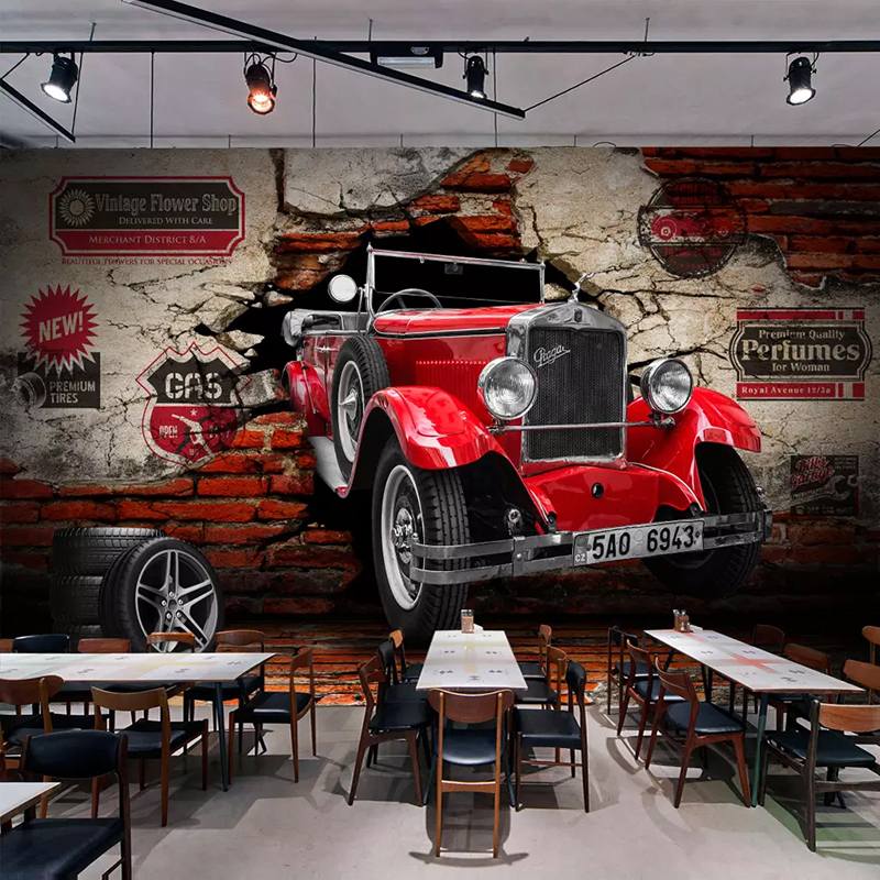 Custom Photo Wall Paper 3D Retro Red Car Broken Wall Murals Living Room Restaurant Cafe Bar KTV Background Wall Painting Decor