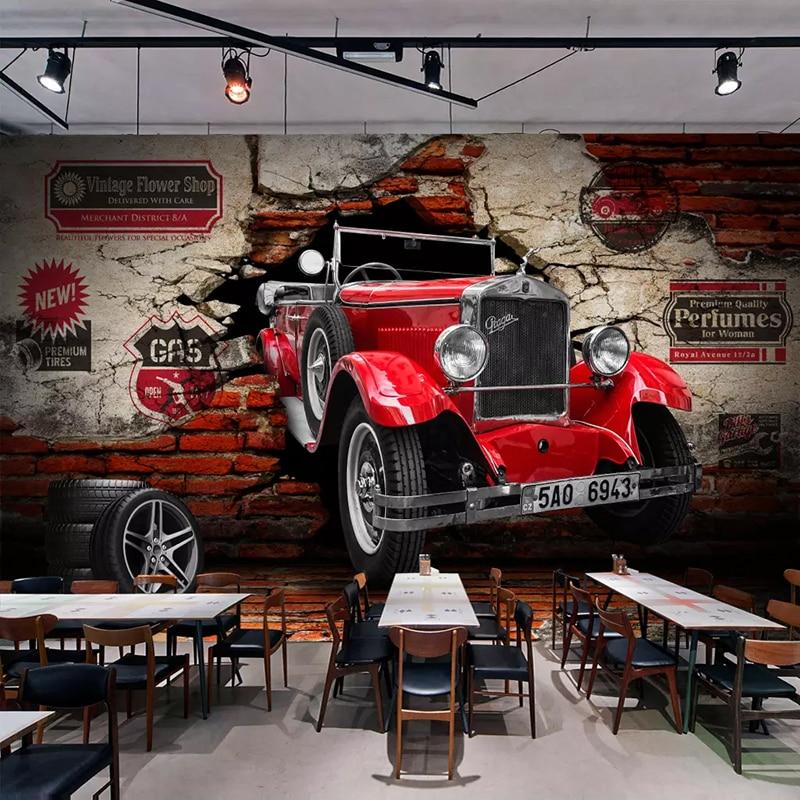 Custom Photo Wall Paper 3D Retro Red Car Broken Wall Murals Living Room Restaurant Cafe Bar KTV Background Wall Painting Decor