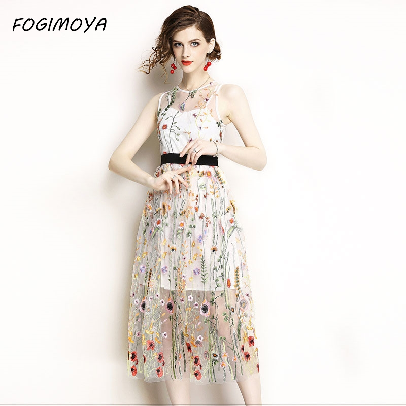 FOGIMOYA Embroidery Dress Women Summer 2018 Fashion Mesh Patchwork Embroidery Dresses Women's Sleeveless Tank Dresses Long Dress