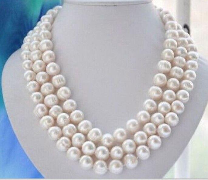 gorgeous single strand10-12mm south sea baroque white pearl necklace48inch 14kgorgeous single strand10-12mm south sea baroque white pearl necklace48inch 14k
