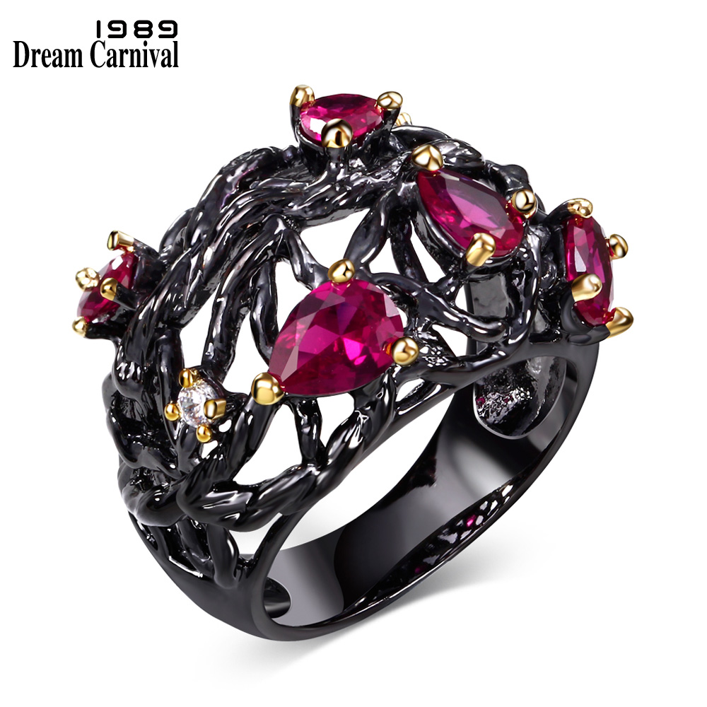 DreamCarnival 1989 Gothic Vintage Rings for Women Hollow Punk Flower Black Gold Color Fuchsia Red CZ Crystal Anillos Moda Anel punk style cylinder hollow out round faux crystal solid color torques for women