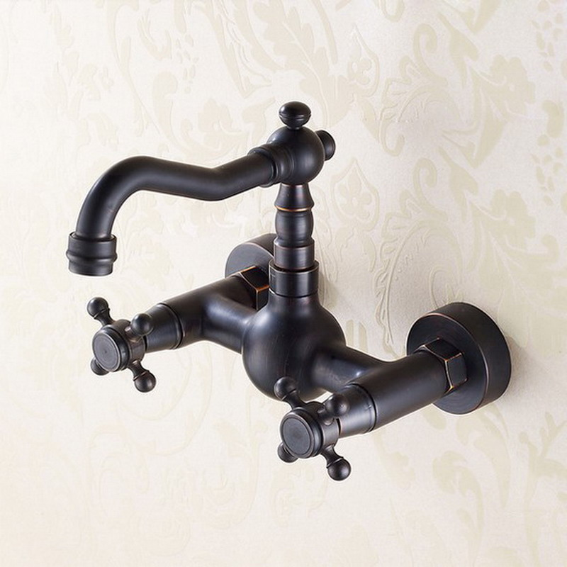 Black Oil Rubbed Bronze Wall Mounted Dual Cross Handles Kitchen Bathroom Vessel Sink Faucet Mixer Taps Ahg008