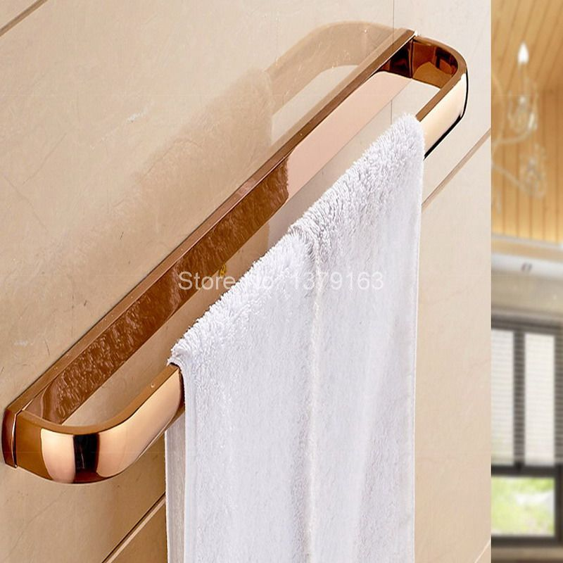 Wall Mount Luxury Rose Gold Brass Bathroom Bath Hardware Towel Single Bar Rail Rack Holder Bathroom Fitting Accessory Aba867