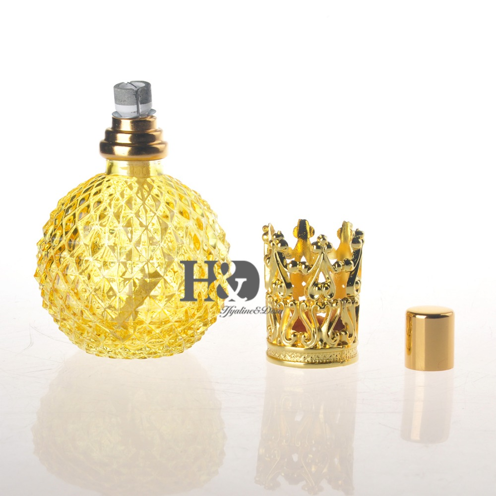 Empty Yellow Refillable Perfume Bottle With Gold Capsule  Free Shipping 5 bottle natural propolis soft capsule 500mgx100pcs free shipping