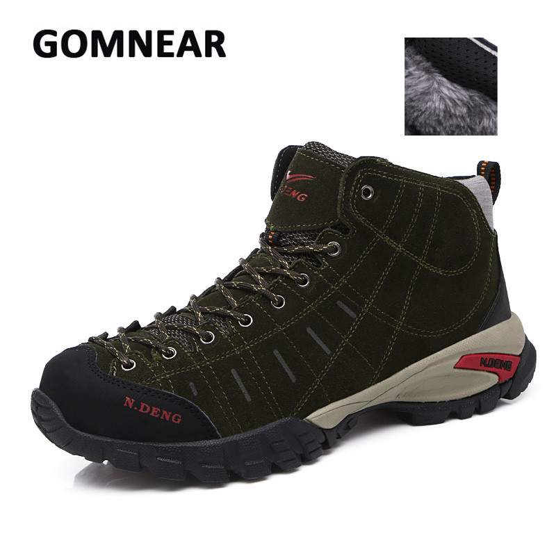 GOMNEAR Cotton Hiking Shoes For Men Outdoor Hunting Climbing Trekking Breathable Non-slip Wear-resistant Sneakers Free shipping new handmade hiking shoes for men climbing boots breathable and non slip cowhide outdoor sneakers free shipping
