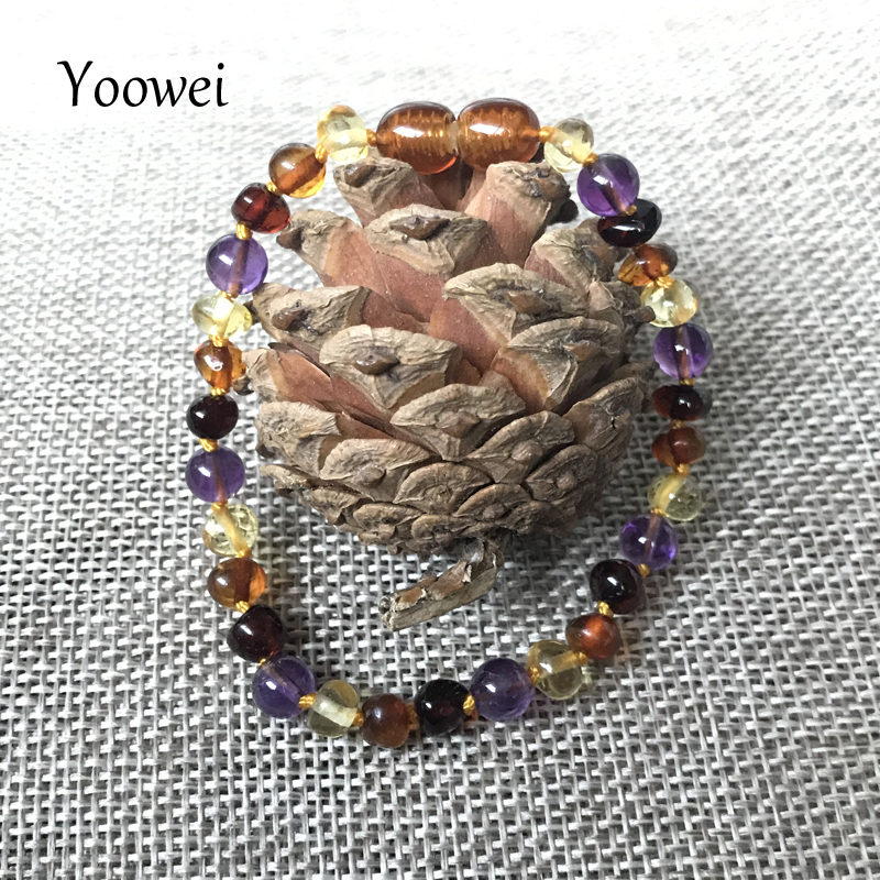 HTB1hdNeoZbI8KJjy1zdq6ze1VXai Yoowei 9 Color Baby Amber Bracelet/Necklace Natural Amethyst Gems Adult Baby Teething Necklace Baltic Amber Jewelry Wholesale