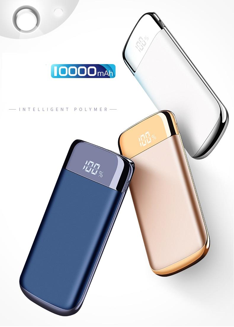 JOYROOM Portable Pocket Power Bank 10000mA External Battery Micro USB Input Mobile Phone Powerbank Charger For iphone 6 7 8