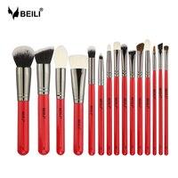 BEILI 15pcs Red Handle Goat Pony Hair Synthetic Powder Foundation Blusher Eyeshadow Eyebrow Eyeliner Concealer Makeup