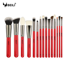 BEILI 15 stücke Rot Griff Ziege Pony Haar Synthetische Powder Foundation Rouge Lidschatten Augenbraue Eyeliner Concealer Make-Up Pinsel Set
