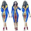 2016 Женская Одежда Новые Dashiki Платье краткие традиционной Печати V Шеи Для Леди