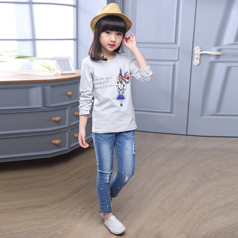 New Style Girls Hole Jeans Kids Jeans Girls Trousers Autumn Fashion - Children's Clothing - Photo 3