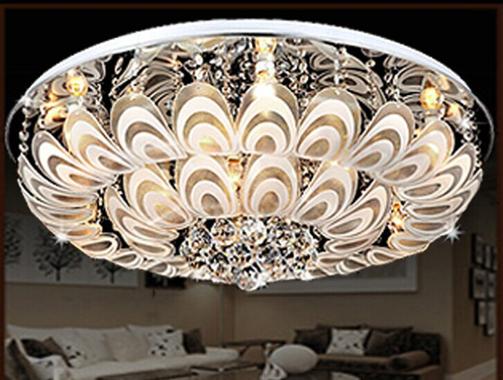 Guzhen Factory Direct LED Crystal Ceiling Low Pressure Colorful Peacock Feathers Modern Living Room Bedroom 9937 In Chandeliers From Lights Lighting On