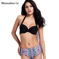Minimalism Le Bandage Bikini 2018 New Solid Print Women Swimwear Hater Top Bikini Set Push Up