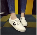 New han edition leather female flat white shoe with leisure wind flat sandals women's college students low help shoes