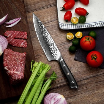 "Sunnecko 8"" Chef Knife Japanese AUS-10 Core Hammer Damascus Steel Blade G10 Handle Kitchen Chef's Cooking Knives Meat Sharp Cut"