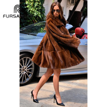 FURSARCAR Women Real Fur Coat With Turn-down Collar Fashion New Style Natural Mink Female Luxury Winter