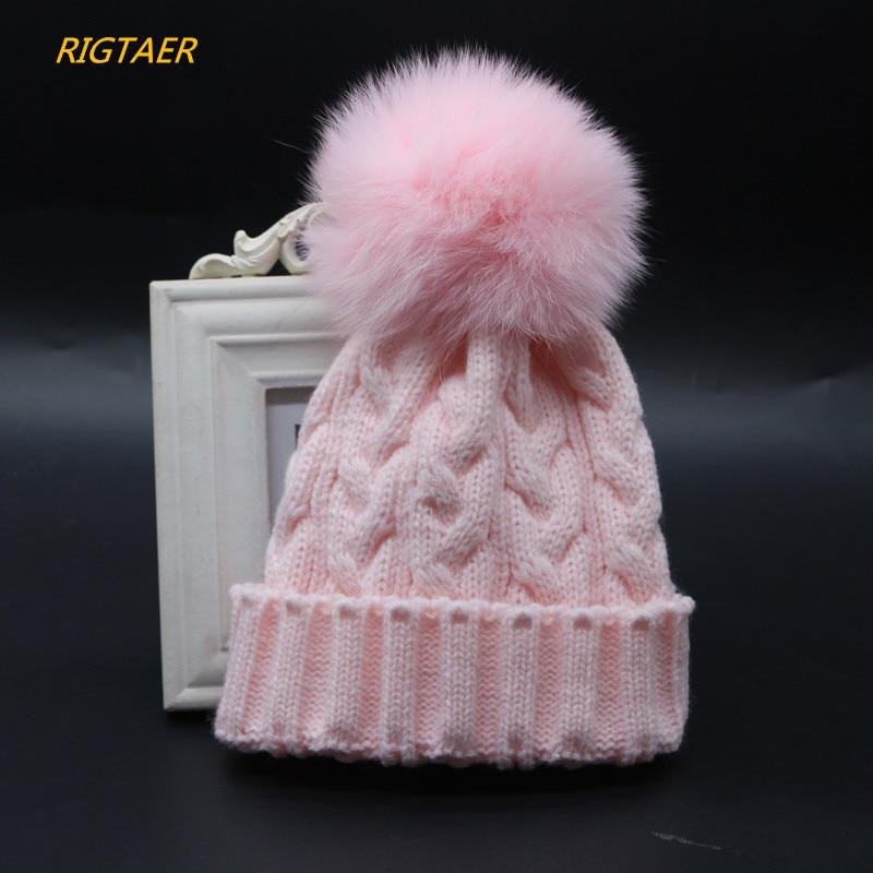 2017 Children fox fur ball wool hat twist knit cap baby boy and girl winter warm hat Fur Pompom hat children wool hat beanies