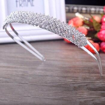 E Coroas Diarios de noiva Diadem Acessórios de Casamento Strass Para Cabelo Hairbands Opaski o Cabelo De Noiva Joia Zrobić Cabelo