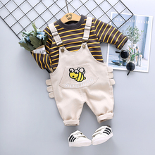 цена ZWXLHH2019 Spring New  Baby Boy Clothing Sets Children Kids Clothes Suit Toddle Infat Stripe T Shirt Bib Pants Casual Suit онлайн в 2017 году
