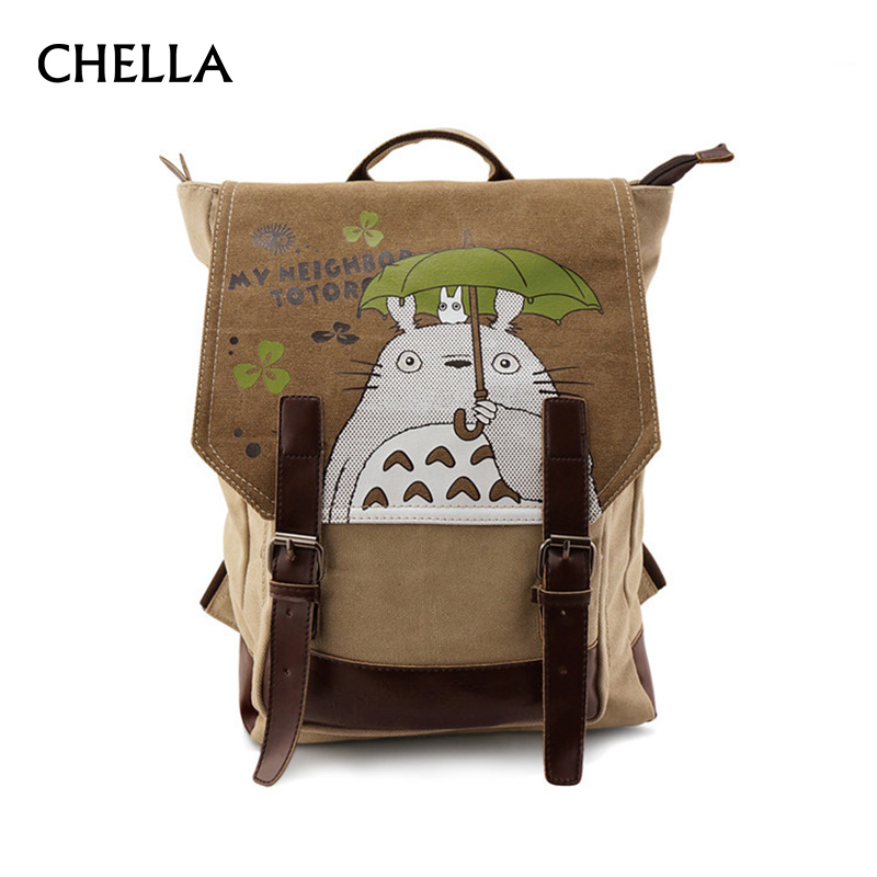 Totoro Backpack Canvas Teenagers School Bags Cartoon Embossing Leather Backpacks Boys Large Schoolbag Girls Mochila BP0170