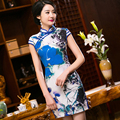 2016 Brand New Arrival 2 Colors Chinese Traditional Women's Silk Hand-Made Button Mini Cheong-sam Dress S M L XL XXL 2016380