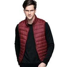 Весенний мужской ультра легкий пуховик, модный мужской пуховик из белого утиного пуха без рукавов, осенне-зимняя теплая куртка-жилетка