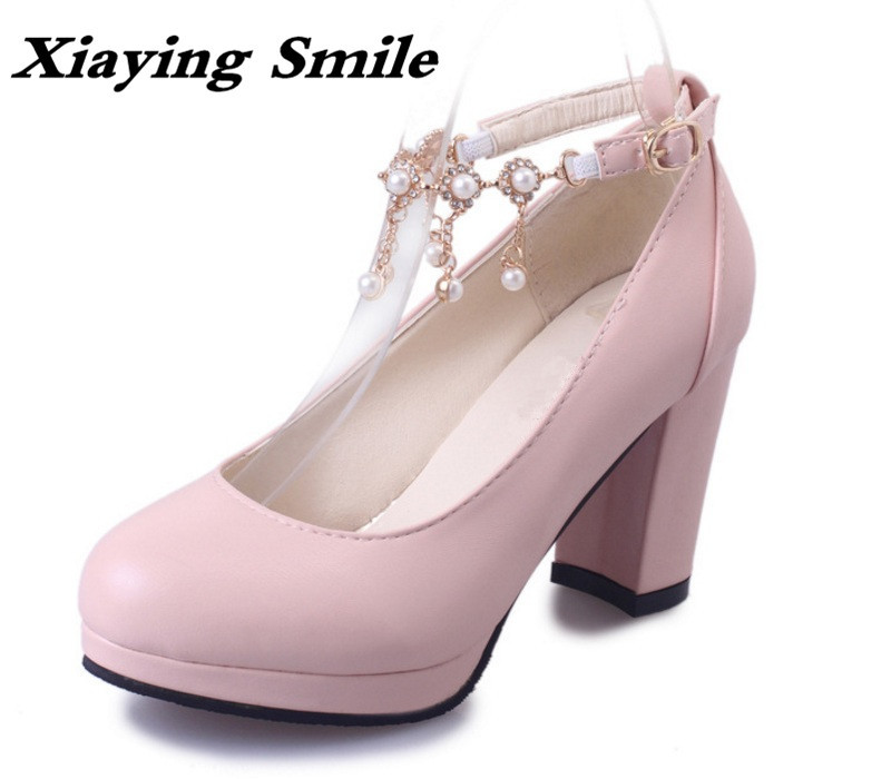 Xiaying Smile Woman Pumps Shoes Women Mary Janes British Style Elegant Spring Square Heels Buckle Strap Fringe Pearl Rubber Shoe xiaying smile summer new woman sandals platform women pumps buckle strap high square heel fashion casual flock lady women shoes