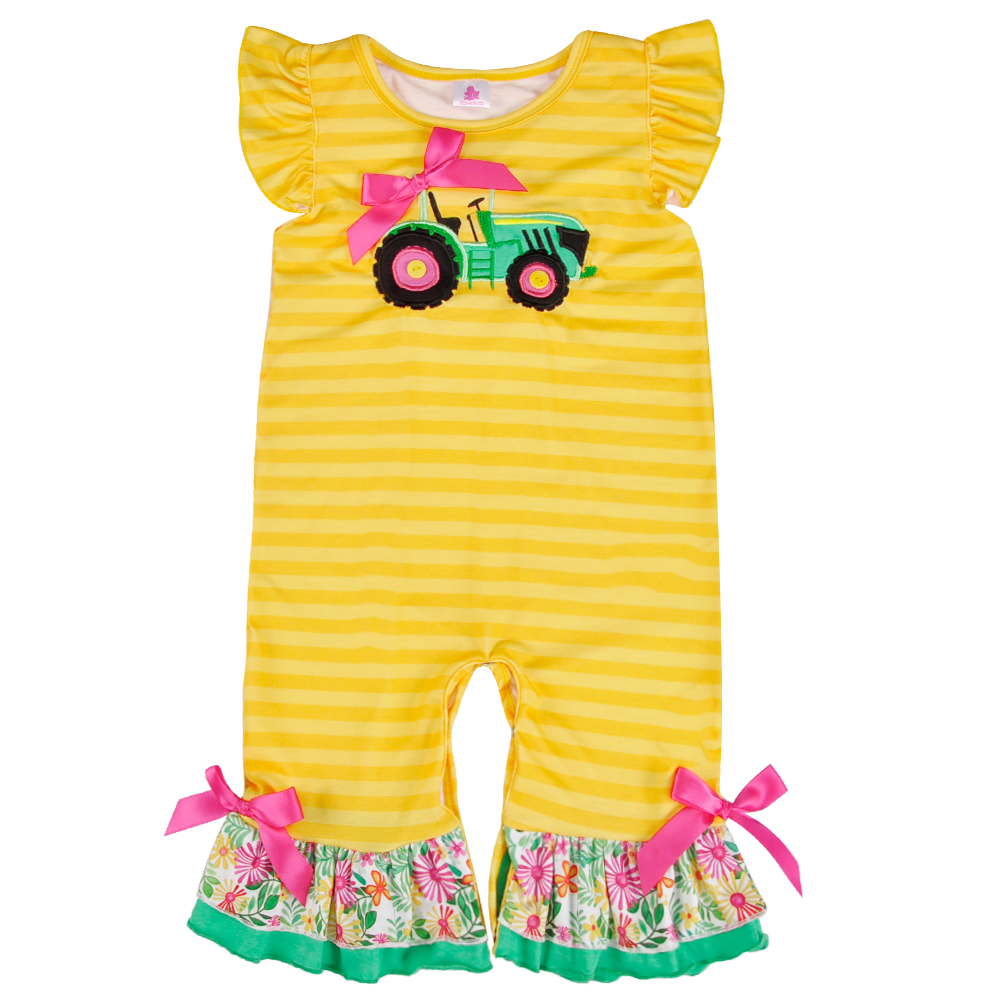 CONICE NINI Newest Design Baby Girl Clothes Summer Newborn Kids Car Pattern Fashion Knitted Cotton   Rompers   GPF806-163