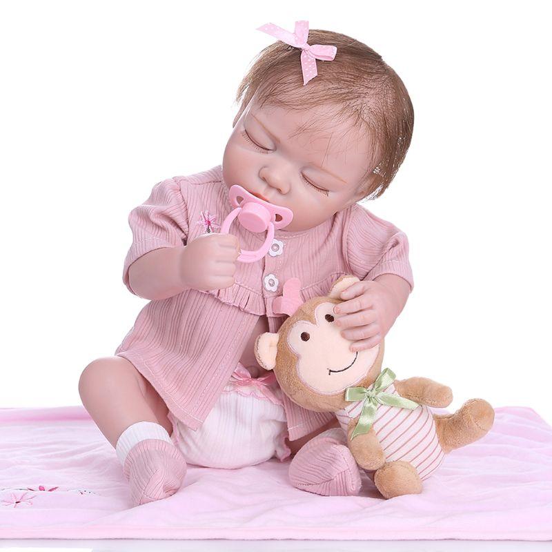 48cm Reborn poupée réaliste pleine Silicone souple vinyle nouveau-né dormir bébés singe jouet vêtements réaliste fait main cadeau
