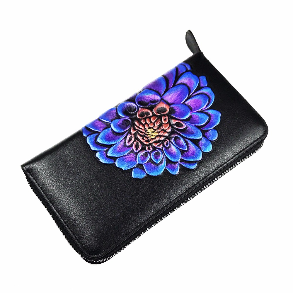 long women wallet 100% genuine leather high quality lady clutch coin purse vintage floral zipper