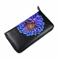 Long Women Wallet 100 Genuine Leather High Quality Lady Clutch Coin Purse Vintage Floral Zipper