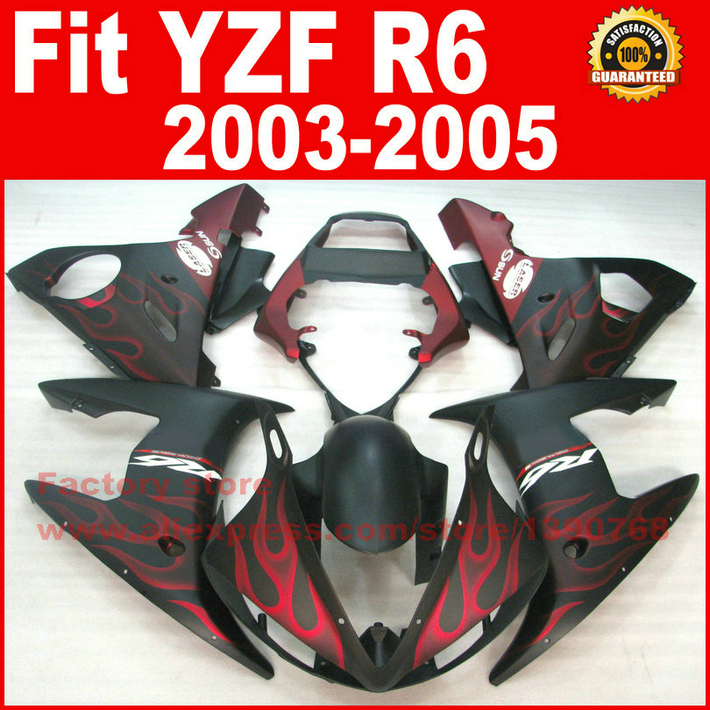 Matte red flames Body kit for YAMAHA R6 fairings 2003 2004 2005 YZF r6 fairing kit 03 04 05 bodywork kits A9M8 high quality abs fairing kit for yamaha r1 2002 2003 red flames in black fairings set injection molding yzf r1 02 03 yz32