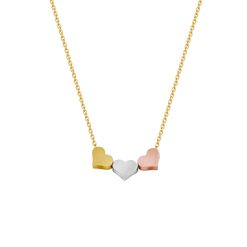 Stainless Steel Silver Rose Gold Mini Three Heart Pendant Necklace Stainless Steel Fashion