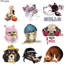 Prajna Wronged Noodle Cats Heat Transfer Music Dog Iron On Patches For Baby Clothing Appliques Vinyl Sticker On T-shirts Cartoon(China)