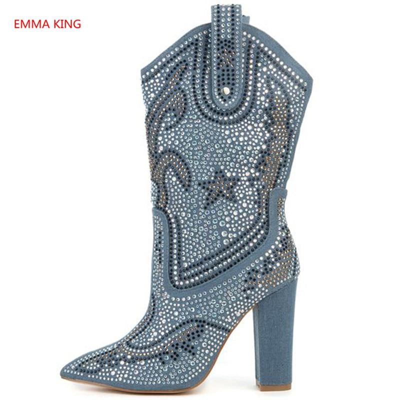 Shown Kristall High Blau Frauen 2018 Winter Mode Licht Heels As Stiefel Picture Chunky Stiefeletten Schuhe Spitz In Picture Verzierte Damen as Geometrie Denim PwxxUX65q