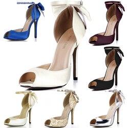 36d18b179b CHMILE CHAU Elfenbein Satin Elegante Hochzeit Braut Schuhe Frauen Peep Toe  Stiletto High Heel Ankle Strap Verbeugte Pumpen 0640C-k2