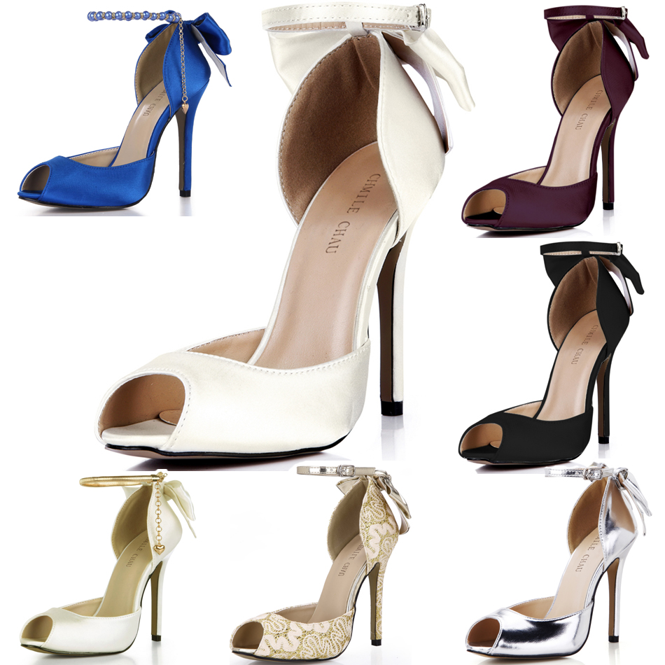 CHMILE CHAU Ivory Satin Elegant Wedding Bridal Shoes Women Peep Toe Stiletto High Heel Ankle Strap Bowing Pumps 0640C-k2