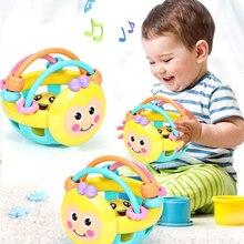 רך גומי Juguetes Bebe Cartoon Bee יד דפיקות רעשן משקולת מוקדם חינוכי לקיד יד פעמון תינוק צעצוע 0 12 חודשים