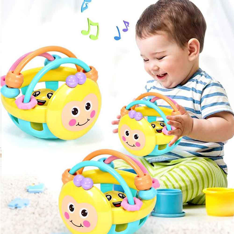 Soft Rubber Baby Cartoon Bee Hand Knocking Rattle Dumbbell Early Educational Toys For Kid Hand Bell Baby Toy 0-12 Month