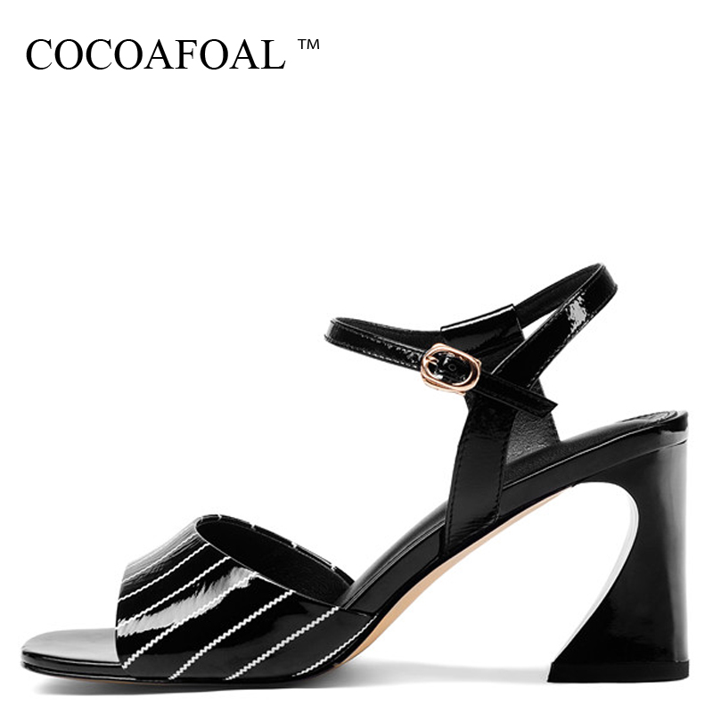 COCOAFOAL Women White Heel Height Sandals Patent Leather Fashion Black Genuine Leather Shoes Sexy Cow Leather Sandals 2018 cocoafoal woamn patent leather sandals fashion heel height black white wedding shoes sexy genuine leather pointed toe sandals