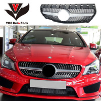 W117 Diamond-Style ABS Silver Car Front Racing Grill Grille for Mercedes-Benz CLA180 CLA200 CLA220 CLA250 CLA260 2013-2018