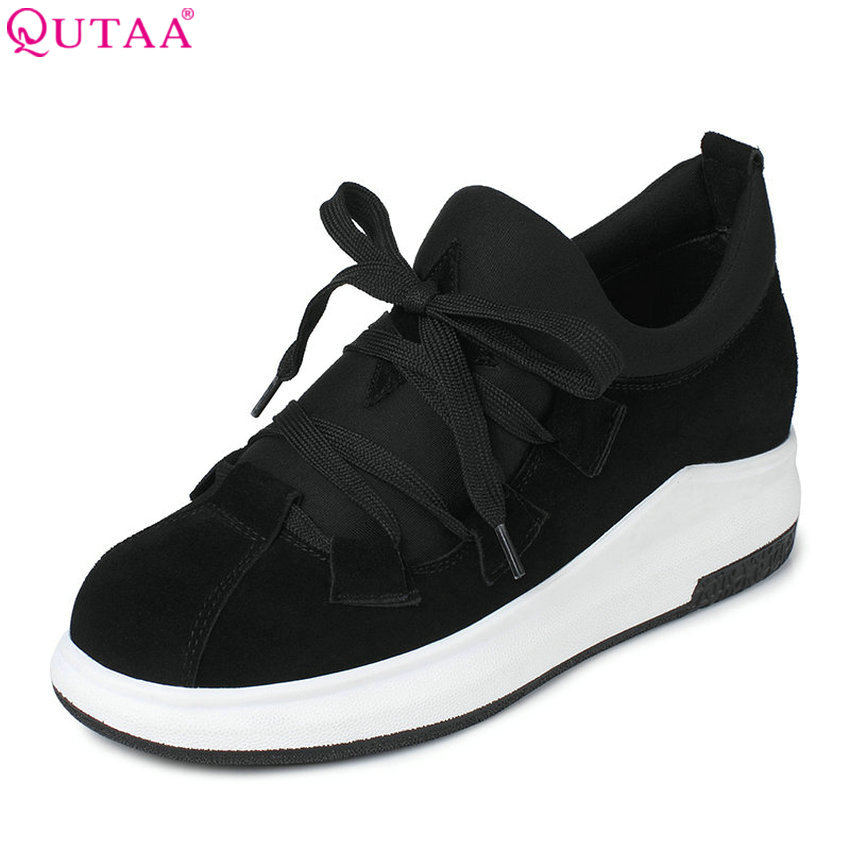 QUTAA 2017 Women Pumps Summer Ladies Shoe Wedge Med Heel Lace Up Genuine Leather+Lycra Platform Woman Wedding Shoes Size 34-39 nayiduyun women genuine leather wedge high heel pumps platform creepers round toe slip on casual shoes boots wedge sneakers