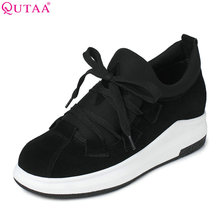 QUTAA/Женские туфли-лодочки 2017 г. Летняя женская обувь клин Обувь на среднем каблуке на шнуровке натуральная кожа + лайкра на платформе женская Свадебная обувь размер 34–39