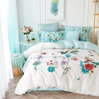 TUTUBIRD Bird Beautiful Scenery Luxury Soft Tencel Satin Silk Feeling Bedding Sets Quality Bedlinen Sheets Boho
