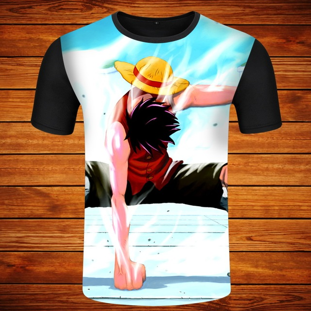 One Piece Luffy Straw Hat O-neck Short Sleeves Men's T-shirt