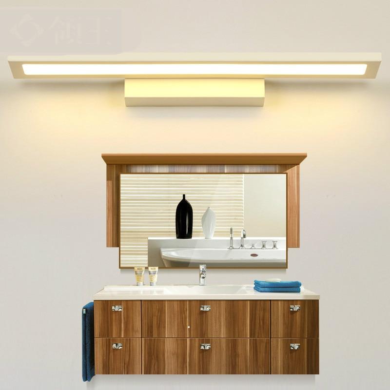 Modern Simple Waterproof Bright Acryl Aluminum Led Mirror Light For Bathroom Wall Lamp 40/60cm Ac 80-265v 1098 40cm 12w acryl aluminum led wall lamp mirror light for bathroom aisle living room waterproof anti fog mirror lamps 2131