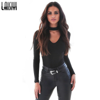 Laisiyi Autumn Winter Tight Halter Collar Women T Shirt Long Sleeve V Neck Shirt Warm Knitted