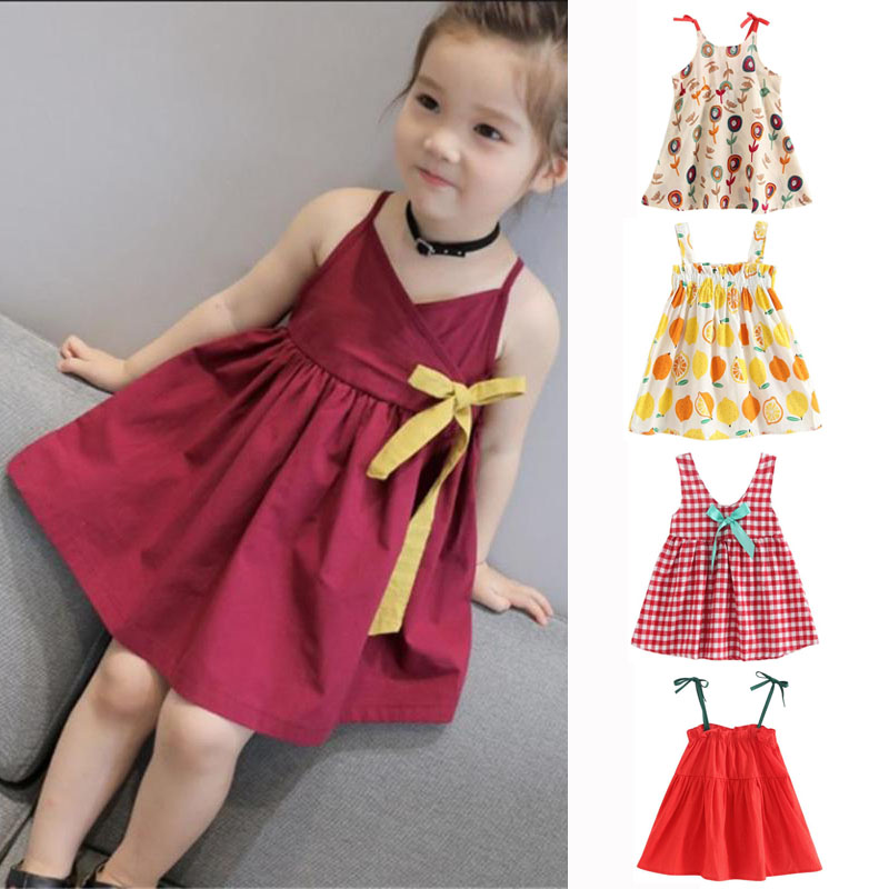 45245c3a03b9b 2019 Fashional Girls Cute Dress for Summer Wine Red Strap Dress Kids Summer  Princess Ribbon Bow Party Dress Clothing Gift-in Dresses from Mother & ...