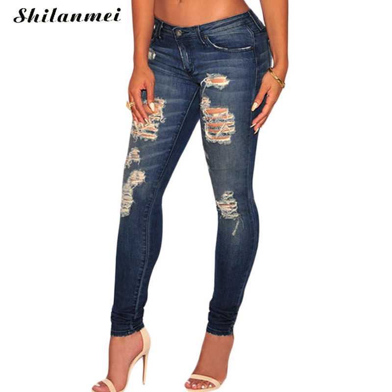 2017 Summer Skinny Hole Ripped Jeans Woman Blue Denim Vintage Straight Casual Jeans Feminino Mid Waist Pants Femme Mujer Female Women's Clothing