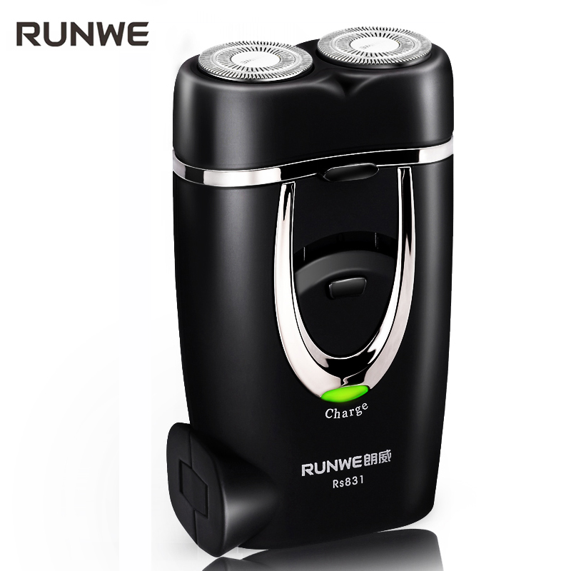 Runwe Classic Black Men Razor Twin Blade Electric Shaver 220v Rechargeable Shaving Machine RS831 Personal Face Care mini razor runwe 4d electric razor electric shaver shaving machine with beard